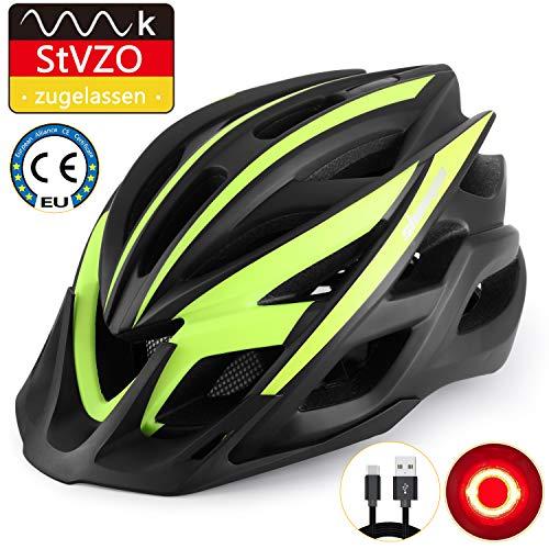 KINGLEAD Fahrradhelm mit StVZO LED Licht, Unisex-geschützter Fahrradhelm für Radrennen Skateboardfahren im Freien Sicherheit Superleichter Verstellbarer Fahrradhelm mit CE-Zertifikat (Schwarz Grün)