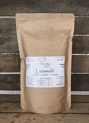 Leinsamenmehl teilentölt low carb Mehl - Leinmehl glutenfrei und ballaststoffreich - Inhalt 500g