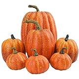 Moanyt 7 Stück Kürbis Deko Simulation Schaum Kürbisse, Zierkürbisse für Halloween Dekoration,Herbsternte Thanksgiving Party Dekor DIY Speisekürbis