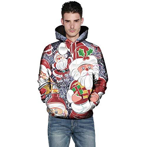Preisvergleich Produktbild UJUNAOR Unisex Pullover Sweatshirt Herbst Casual Mantel Weihnachtsmann Gedruckt Hoodie(Multicolor, EU 3XL / CN 4XL)