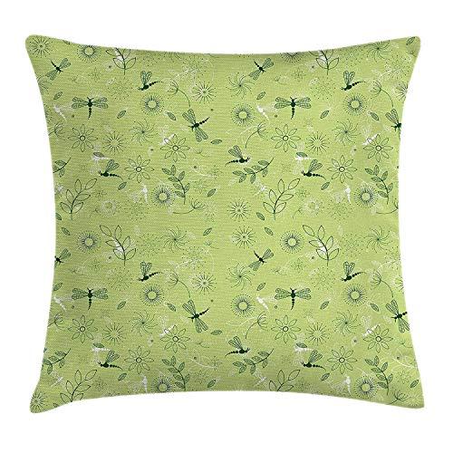 Butlerame Funda de Almohada con diseño de libélula, Flores y libélulas para niños, Imagen de inspiración para la Temporada de Primavera, 18 x 18 Pulgadas, Pistacho y Verde