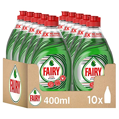 Fairy Ultra Lavavajillas a Mano con LiftAction, 4 L (10 x 400 ml), Óptimo Poder Antigrasa, Mega Pack
