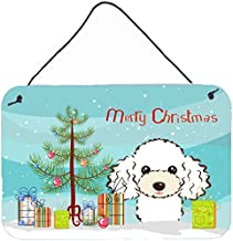 Caroline's Treasures BB1629DS812 Christmas Tree & White Poodle Wall or Door Hanging Prints BB1629DS812,Multicolor,8HX12W
