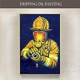 SupKey.Art Künstler handgemalte Feuerwehrmann Ölgemälde auf Leinwand Handmade Feuerwehrmann Gemälde für Wohnzimmer 60x90CM