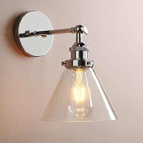 Vintage Edison Industrial acero inoxidable Buyee para aplique de lámpara tulipa para lámpara Loft lámpara de pared lámpara Retro de café de piezas con bombilla