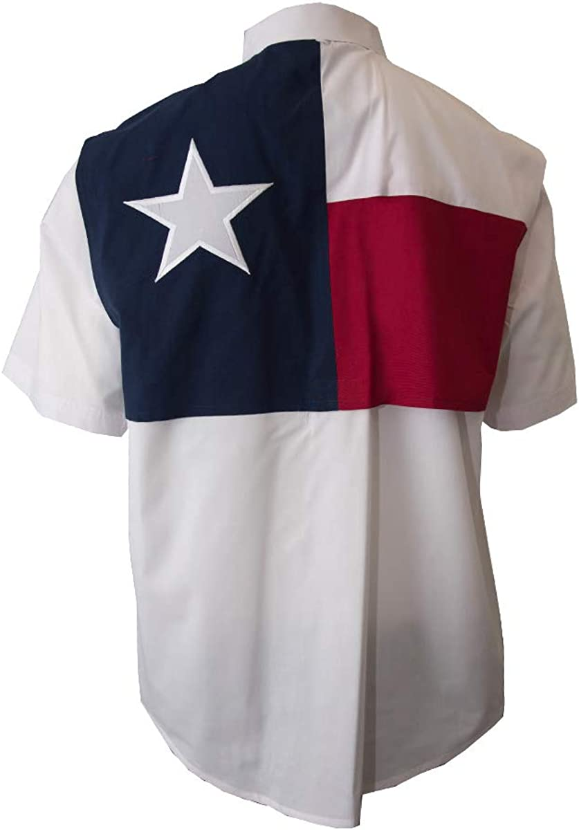 Tiger Hill Men's Texas Flag Fishing Shirts Short Sleeves
