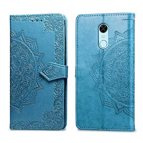 Bear Village Hülle für Xiaomi Redmi 5 Plus, PU Lederhülle Handyhülle für Xiaomi Redmi 5 Plus, Brieftasche Kratzfestes Magnet Handytasche mit Kartenfach, Blau