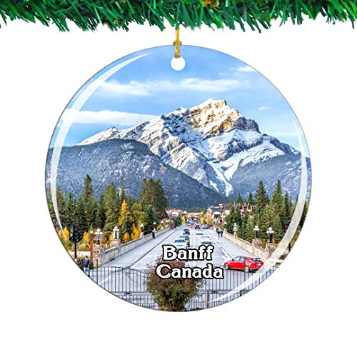Weekino Canada Canada Banff National Park Christmas Ornament City Travel Souvenir Collection Double Sided Porcelain 2.85 Inch Hanging Tree Decoration