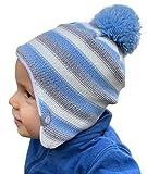 HILLTOP Babymütze, doppellagig, hochwertige Kinder Wintermütze, Strickmütze für Jungen und Mädchen, Fleece-Futter. Passend bei einem Kopfumfang von 47-48 cm. Winter Kollektion 2019:Blau-Grau-Gestreift