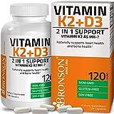 ビタミンD3配合ビタミンK2 (MK7として)サプリメント - 遺伝子組み換えでないグルテンフリー処方 - 5000 IU ビタミンD3 & 90 mcg ビタミンK2 MK-7 -ビタミンD & Kコンプレックス配合、ベジタリアンカプセル120錠