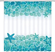 Jszna Ocean Decor Shower Curtain Modern Sealife Marine Sea Shells Stars Fish Under Sea Image Tuquoise Seafoam Teal White Fabric Bathroom Curtains,72x72 Inch Waterproof Polyester with Hooks