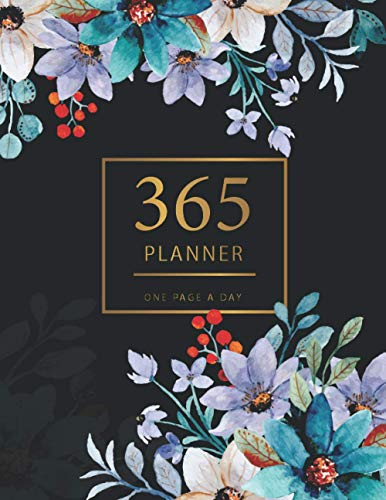 365 Planner One Page A Day: Watercolor Flower Cover   2021 Calendar Time Schedule Organizer for Daily Diary One Day Per Page   Appointment Book 7.00am ... Dated   Business Workday Planner   To Do List