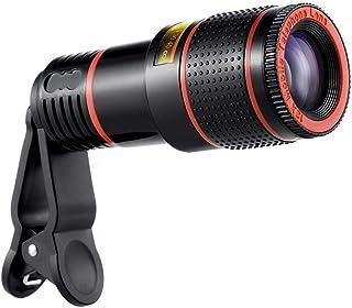طقم عدسات تكبير لكاميرا، 8X عدسات تقريبية زووم تلسكوب عدسات ماكرو مع مشبك لهاتف آيفون سامسونج