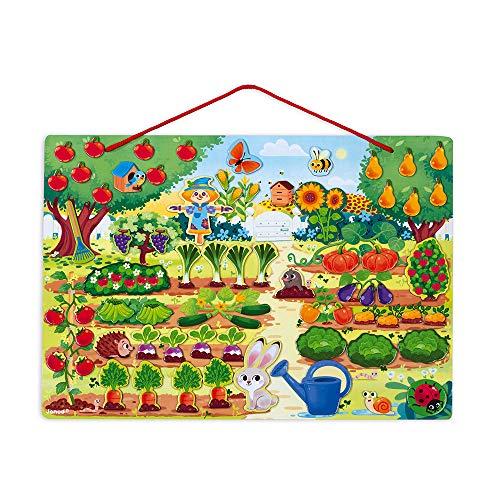 Janod Il Mio Giardino Magnetico, Giocattolo Educativo Didattico in Legno, Multicolore, J05463