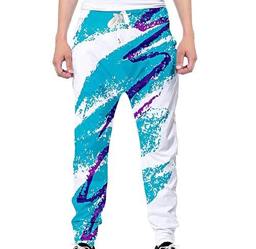 Nituyy Unisex Men Women 3D Digital Print Funny Joggers Pants Graphic Sport Track Sweatpants with Pockets (Blue, S)