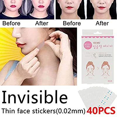 Qomomont 40Pcs Invisible Face Lift Tape Thin Locator Patch Waterproof Neck Double Chin V Shape Saggy Eye Adhesive Band Wrinkle Jowl Tightening Make-up Tools for Facial