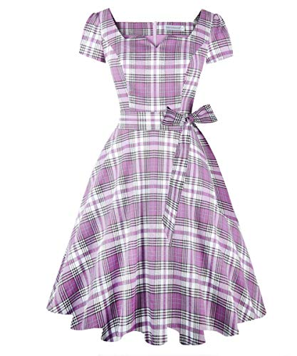 Girstunm Women's Classic Tea Dress Short Sleeve Swing Cocktail Party Dresses with Pockets Lavender-Mixed-White XS