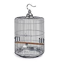 鳥かご ステンレス鋼のバードケージMyna牡丹ブラックフェニックスオウムツグミバードケージメタルケージラウンド 屋外の鳥かご (色 : Silver, Size : One size)