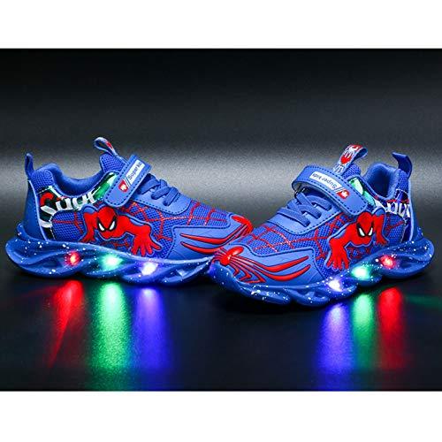 Barn LED upplysbara träningsskor blinkande skor pojkar flickor spindelskor ledig lätt andningsbara sneaker(Size:29,Color:Blå)