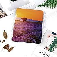 多彩なiPad 9.7 ケース PU レザー iPad 9.7 2018 第6世代 / iPad 2017 第5世代 / iPad air/iPad pro 9.7 / iPad air177 対応 ケー図案を焼き付ける新鮮なフィールドと木の牧歌的な夏の夕日