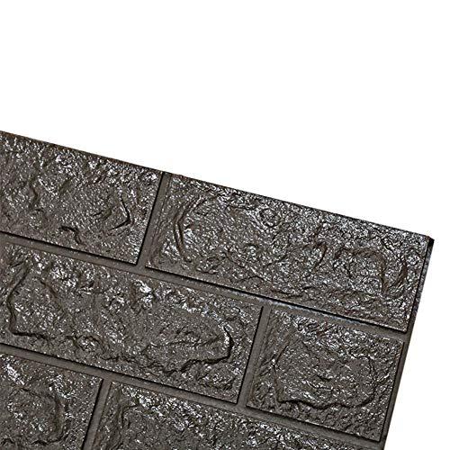 Renquen Ziegel-Tapete, 3D-Wandpaneele, 3D-Ziegelstein-PE-Schaum, DIY-Wandaufkleber, Selbstklebende Tapete für Wohnzimmer, Schlafzimmer, 6 Stück, Dunkelgrau