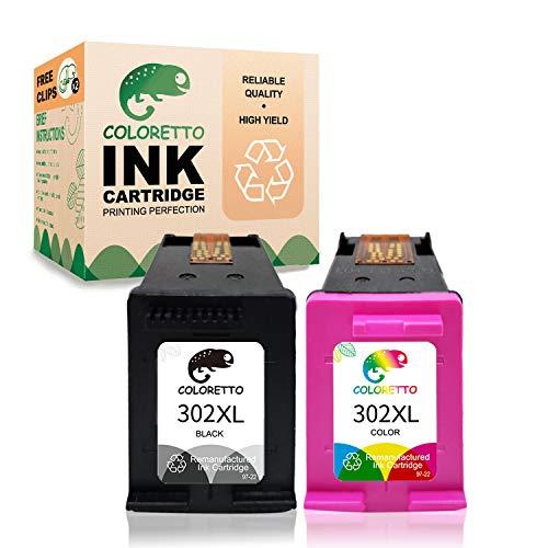 COLORETTO Druckerpatronen kompatibel für HP 302XL für HP Deskjet 1110 1111 3638 3639, Officejet 3830 3831 3832 5220(1 Schwarz,1 Farbe)