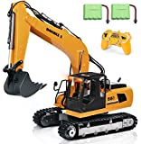 DOUBLE E Remote Control Truck 17 Channel RC Excavator Toy Construction Vehicles with 2 Batteries Metal Shovel Lights Sounds 1:16 Scale RC Tractor