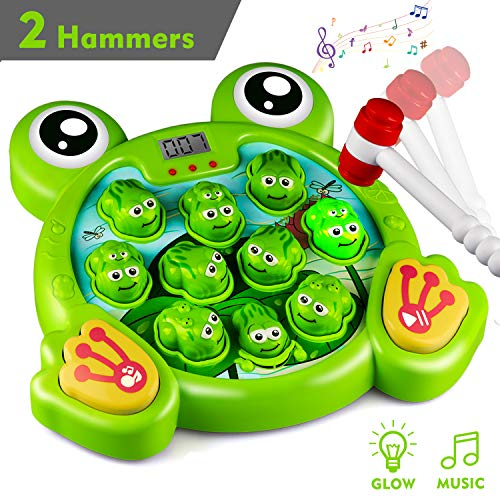 KKONES Music Super Frog Game Toddler Toys – 2 Hammers Baby Interactive Fun Toys Toddler Activities Games with Music&Light for Ages 3 4 5 6 7 8 Boys Girls