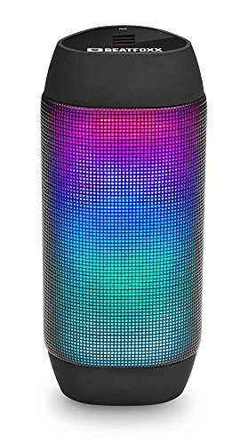 Beatfoxx LEDBeat Portabler LED Bluetooth Lautsprecher - Mobiler Wireless Akku Speaker - Disco Licht Effekt - Drahtlose Box mit USB/SD MP3-Player - Integriertes UKW-Radio