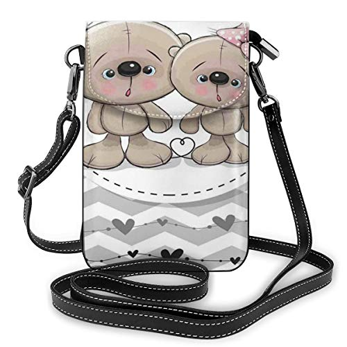 Women Small Cell Phone Purse Crossbody,Two Cute Teddy Bears Love Valentines Hearts Zig Zag Chevron