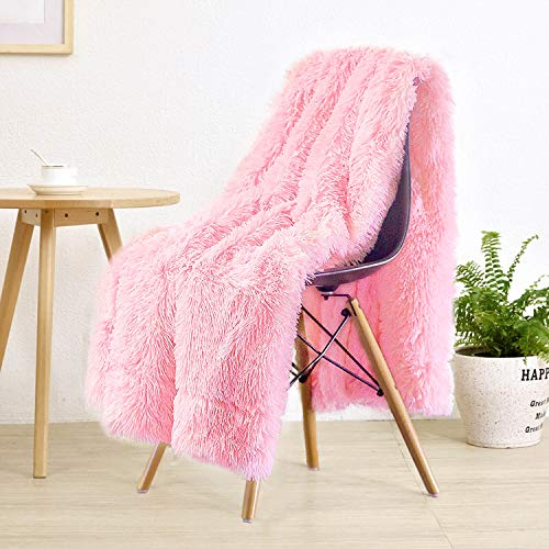 """LOCHAS Super Soft Shaggy Faux Fur Blanket, Plush Fuzzy Bed Throw Decorative Washable Cozy Sherpa Fluffy Blankets for Couch Chair Sofa (Baby Pink 60"""" x 80"""")"""