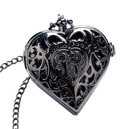 MingXinJia Relojes de Cabecera para el Hogar Reloj de Bolsillo Vintage, Collar Negro en Forma de Corazón para Damas, Mujeres, Niñas, Amigo, Reloj de Bolsillo de Cuarzo, Colgante de Moda, Cadena de Re