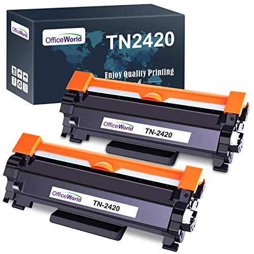 OfficeWorld Compatible Brother TN2420 TN-2420 TN2410 TN-2410 Cartuchos de Toner para Brother HL-L2310D L2350DN L2370DN L2375DW L2710DN L2710DW MFC-L2730DW L2750DW DCP-L2510D L2530DW L2550DN (2 Negro)