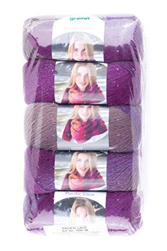 Gründl Pacific Lace, Packung 5 Knäuel à 100 g Handstrickgarn, 80% Polyacryl, Wolle, 10% Alpaka, Violet Cocktail, 36 x 20 x 8 cm