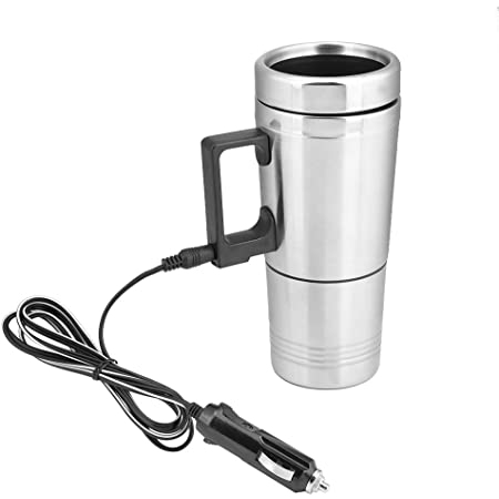 Amazon Com Qiilu Heated Travel Mug 12v 200ml Electric Car Kettle Boiler Stainless Steel Heating Cup Coffee Tea Warmer Cup Kitchen Dining