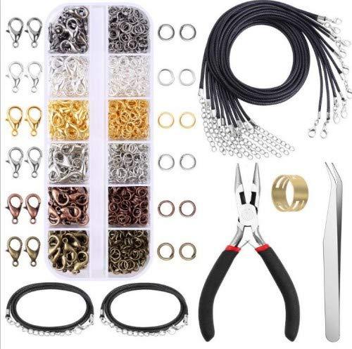 975 Piezas Kit de Accesorios de Joyería con Cierres de Langosta Anillos de Salto Cordones de Collar Anillo de Bronce Pinzas Alicates para Fabricación de Joya Colgantes