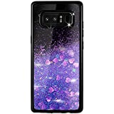 Alsoar Cover per Galaxy Note 8,Glitter Bling Liquido Galaxy Note 8 Cover+ Pellicola Protettiva in Vetro Temperato Silicone Sottile Antiurto Quicksand Case per Cuore Carino Cristallo (porpora)