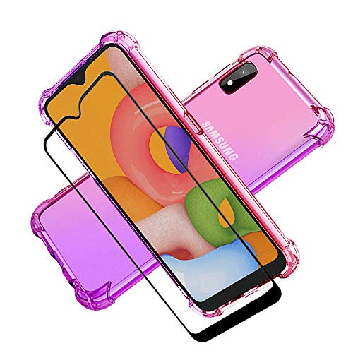 HNHYGETE Samsung Galaxy A10e Case with Tempered Glass Screen Protector for Girls Women, Shockproof Two-Color Soft TPU Cases for Samsung Galaxy A10e (Pink/Purple)
