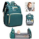 Baby Changing Bag, Large Capacity Diaper Bag with Changing Station Foldable Travel Crib