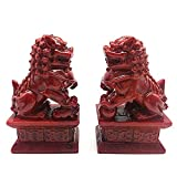 HYBUKDP Estatuas Feng Shui Decoración Beijing Leones par de estatuas Fu Perros de Foo del león del Guarda, Resina Riqueza Prosperidad Figura, Artesanía Ornamento Escultura de la Mascota