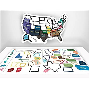 RV State Sticker Travel Map - 13  x 17  - USA States Visited Decal - United States Non Magnet Road Trip Window Stickers - Trailer Supplies & Accessories - Exterior or Interior Motorhome Wall Decals