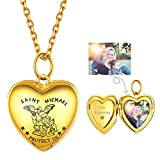 Personalized Locket 18k Gold Plated Front Engraved Saint Michael Silver Heart Picture Lockets for Teen Girls