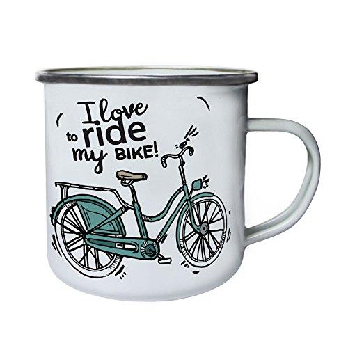 INNOGLEN Ich Liebe, Reite Mein Fahrrad Retro, Zinn, Emaille 10oz/280ml Becher Tasse q686e