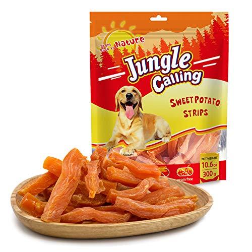 Jungle Calling Golosinas para Perros Masticables Sin Piel De Camote, Comida Vegetariana para Perros, Bocadillos para Perros Naturalmente Nutritivos, 11 Oz