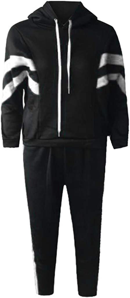Dainzuy Women 2 Piece Outfits Long Sleeve Striped Cropped Pullover Sweatshirt Bodycon Tracksuit Long Pants Set Sportswear
