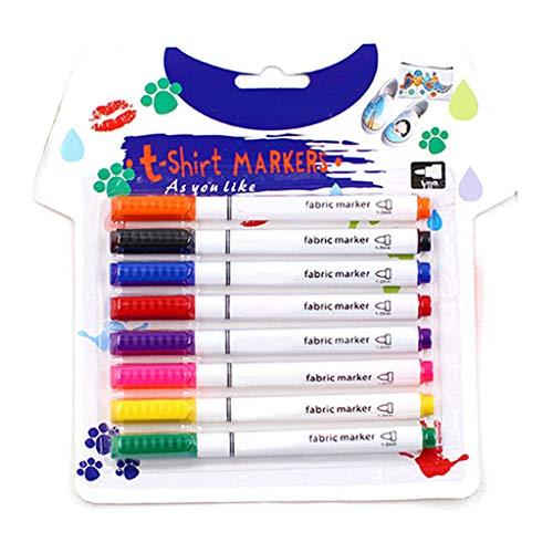 VVXXMO 8 bolígrafos de pintura, marcadores textiles de ropa, manualidades, pintura de camiseta, pigmento, rotulador de escritura
