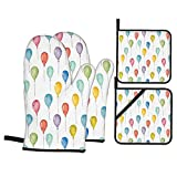 F-shop Home Decor Collection Colorful Balloons Birthday Party Decorations Theme Celebration Festival Surprise Pattern Multi Oven Gloves and Pot Holders Set Personalized Barbecue Cooking Mitts
