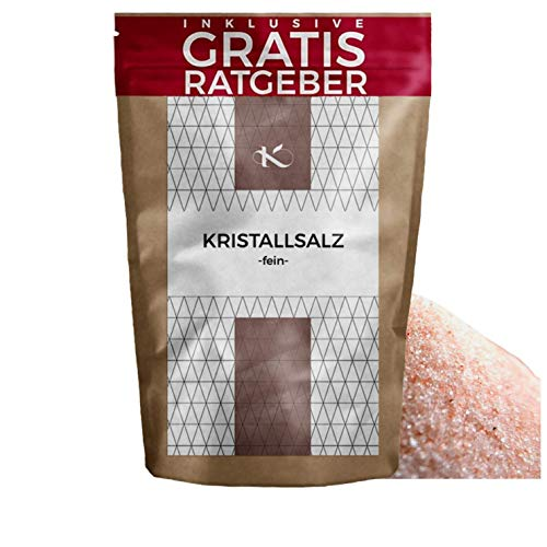 Kristallsalz - fein - 850g | rosa Steinsalz aus Pakistan Himalaya Gebirge inkl gratis Ratgeber | Himalayasalz edles Natursalz | naturbelassenes Ursalz