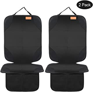 Smart elf Car Seat Protector, 2Pack Seat Protector Protects Child Seats with Thickest Padding and Non-Slip Backing Mesh Pockets for Baby and Pet