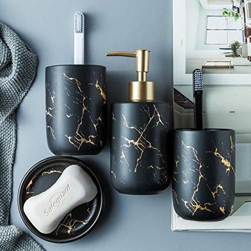 YYW - Juego de accesorios de baño de cerámica, juego completo de accesorios de tocador, incluye jabonera, dispensador de loción y vasos, color negro (cuatro piezas)
